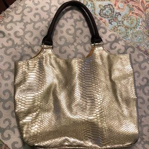 "NEIMAN MARCUS Gold ""Croc"" Tote Shoulder Purse Bag."
